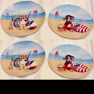 Set of 4 Melamine Plates Patriotic Dogs at Beach